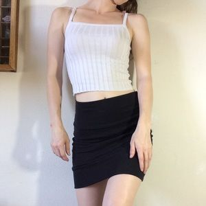 H&M Tops - White Rib Knit Thermal Crop Top